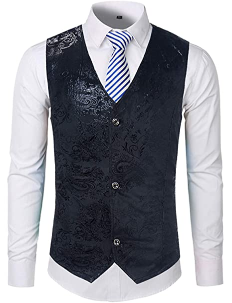Gold Steampunk Vest Men Suit Wedding Sleeveless Slim Fit ...