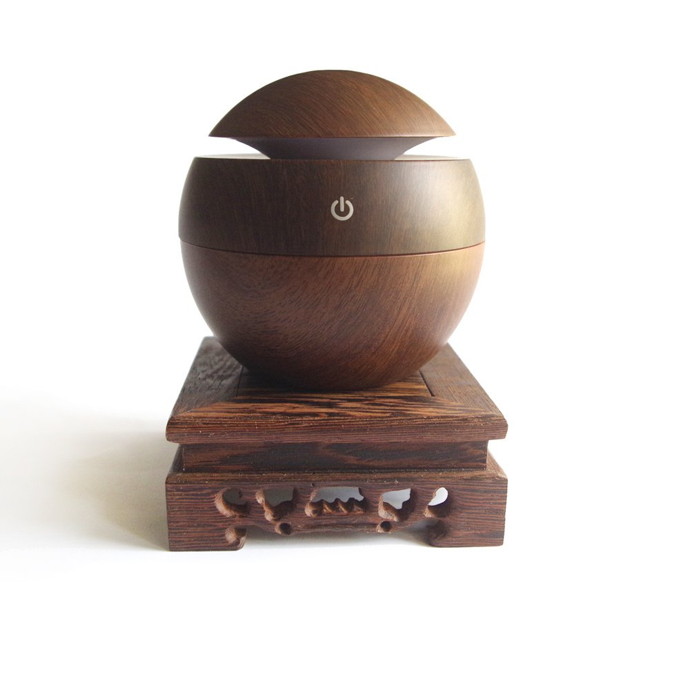 130ML Wood Grain USB 5V Aroma Essential Oil Diffuser Ultrasonic Cool Mist Humidifier Air Purifier for Office Home,with Solid Wood Stand (Square Stand-A Type)