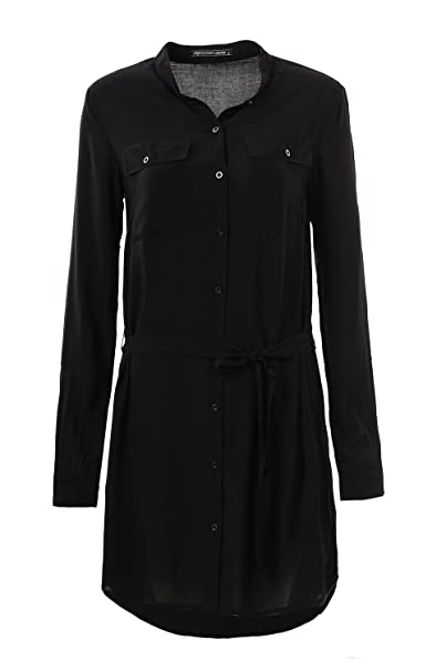 GLOSTORY Long Sleeve Button Down Casual Work Shirt Dresses for Women 3006 ( Black-S 6cf1368b0