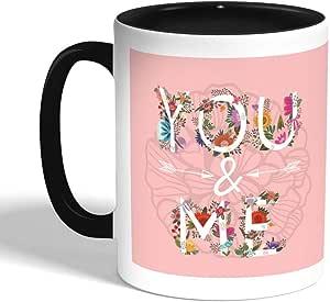 كوب سيراميك للقهوة بتصميم رومانسي، اسود