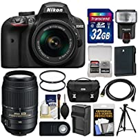 Nikon D3400 Digital SLR Camera & 18-55mm VR DX AF-P Zoom (Black) with 55-300mm VR Lens + 32GB Card + Case + Flash + Battery & Charger + Tripod + Kit