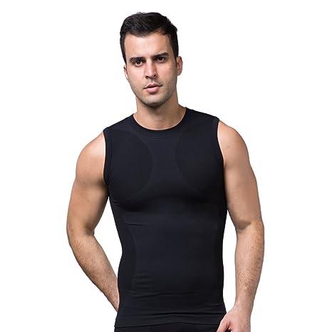 ZEROBODYS Maglietta senza Maniche Uomo compression funzionale maglia  Cool-asciutto SS-M05 Nero ( b7b372cce523