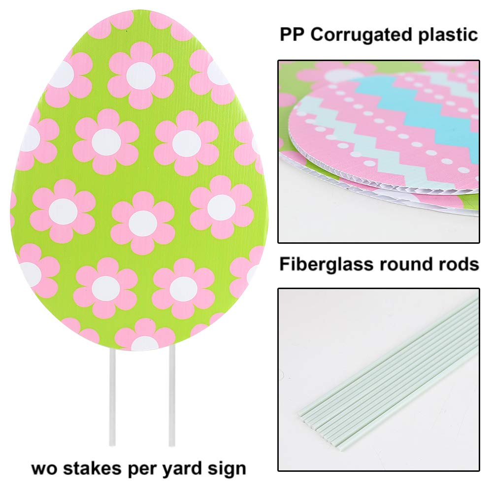 Koolge 8pcs Easter Yard Signs,Rabbit Egg Yard Stake Signs Easter Decorations for Egg Hunting Party,Easter Outdoor Lawn