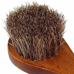 Zeroyoyo Long Wood Handle Horse Bristle Hair Brush Shoes Boot Polish Buffing Brush Care