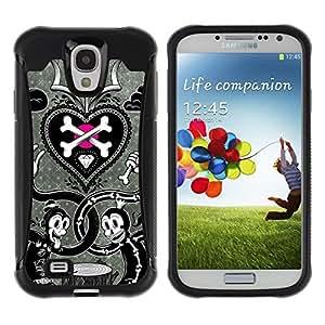Suave TPU GEL Carcasa Funda Silicona Blando Estuche Caso de protección (para) Samsung Galaxy S4 IV I9500 / CECELL Phone case / / Scull Crossbones White Black Metal /