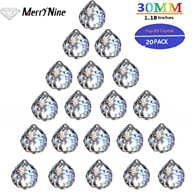MerryNine Clear Crystal Ball Prism Suncatcher Rainbow Pendants Maker, Hanging Crystals Prisms for Windows, for Feng Shui, for Gift(30mm/1.18  20pack)