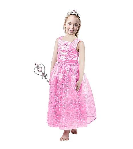 70ea8b069 Amazon.com: Blue Panda Princess Dress - Pink Princess Costume with Wand and  Tiara for Girls, L: Clothing