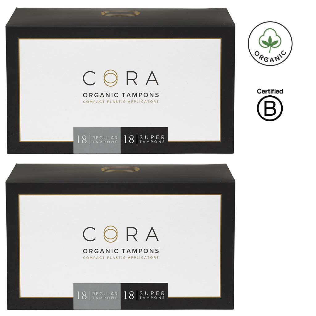 Cora Organic Cotton Tampons with BPA-Free Plastic Compact Applicator; Chlorine & Toxin Free - Variety Pack - Regular/Super (72) by Cora