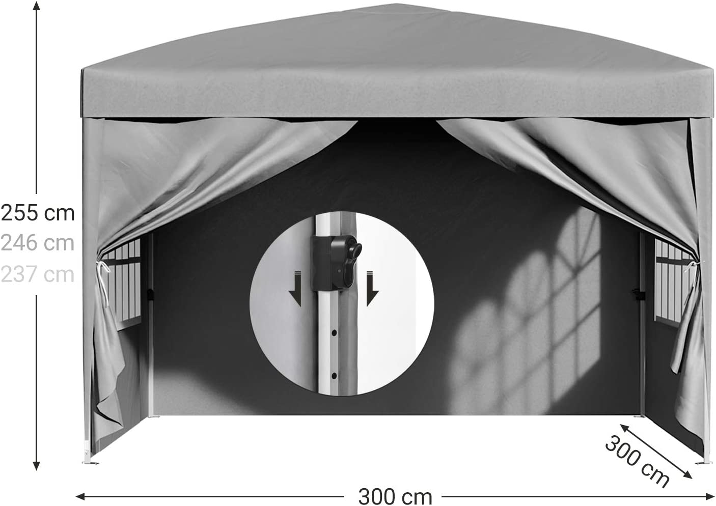 Portable for Outdoor Garden Patio Party Commercial Events Waterproof Pop Up Awning Canopy Tent with Carry Bag 2 Full Sidewalls Grey GCT14GY SONGMICS Gazebo 3 x 3 m Marquee Tent Anti-UV