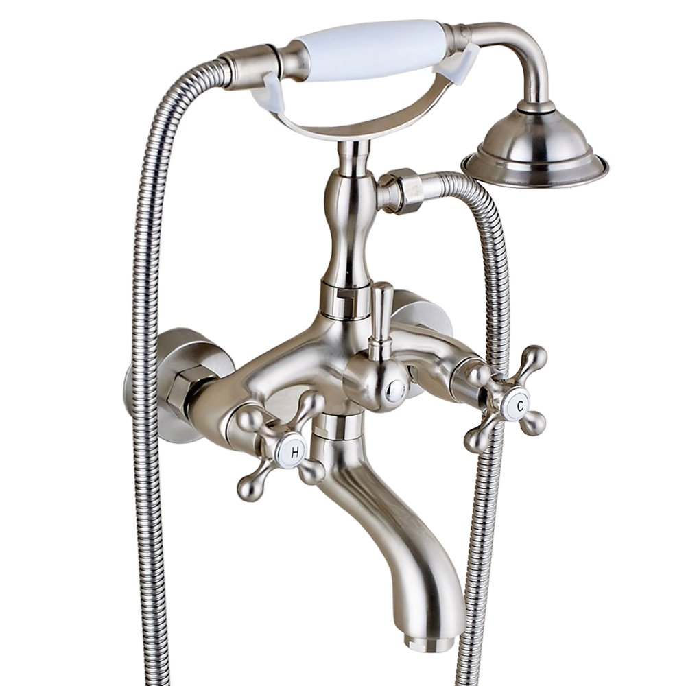 Votamuta Stainless Steel 6-Inch Centers Two Handle Bathroom Clawfoot Bathtub Shower Faucet Wall-Mounted Tub Mixer Tap with Hand Spray,Brushed Nickel