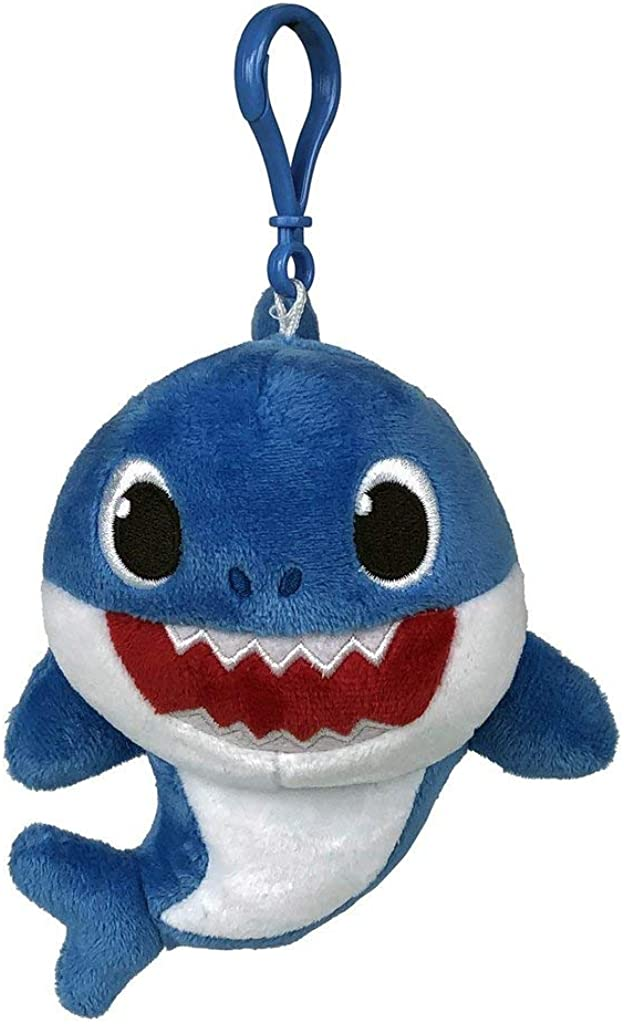 Pinkfong Baby Shark Plush Keychain Daddy Shark - Baby Shark Plush Clip On Keychain from Hit Song - Official Baby Shark Stuffed Animal Clip for Bags, Lunch Boxes, Backpacks