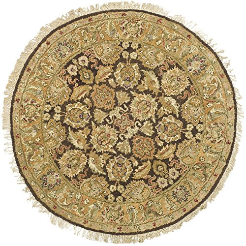 Rug Oriental Round Brown (Safavieh Old World Collection OW115B Hand-Knotted Traditional Oriental Dark Brown and Gold Wool Round Area Rug (6' Diameter))