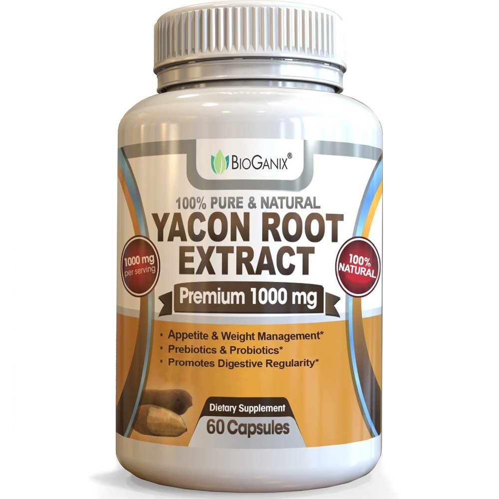 BioGanix Yacon Root Syrup Extract 1000mg serving - Raw Natural Prebiotic & Probiotic Supplement, Rich in FOS & Antioxidants - Supports Healthy Digestion & Weight Loss (60 Capsules)