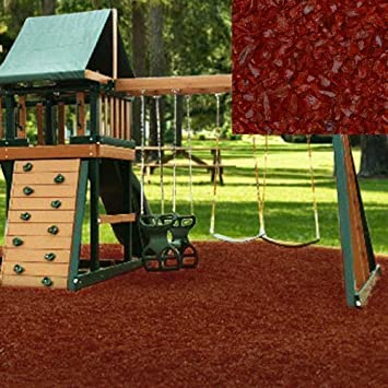 Swing Set Playground Rubber Mulch 75 Cu.Ft. Pallet Cedar Red
