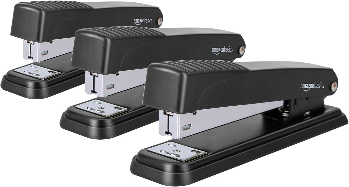 AmazonBasics Desktop Stapler, Full-Strip, 20 Sheet Capacity, Black (Pack of 3)