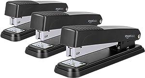 AmazonBasics Desktop Stapler, Full-Strip, 20 Sheet Capacity, Black (Pack of 3)