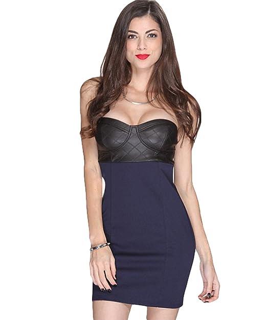 Shymay - Vestido - sujetador bandeau - Sin mangas - para mujer Azul azul marino 36/38: Amazon.es: Ropa y accesorios
