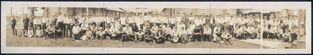 1920 A few of the boys for summer school, arriving at Naval Training Station, Na