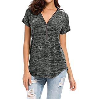 Blouses for Womens, FORUU Loose Fitting Zip up V Neck Tops Tunic Casual T Shirts