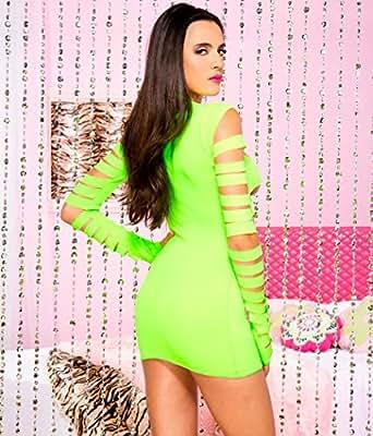 Music Legs Women's Heartbreaker Cut Out Long Sleeve Mini Dress Neon Green One Size Fits Most