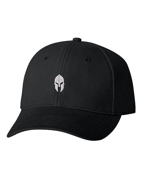 Adjustable Black Adult Spartan Warrior Helmet Embroidered Dad Hat  Structured Cap b0be913b63a4