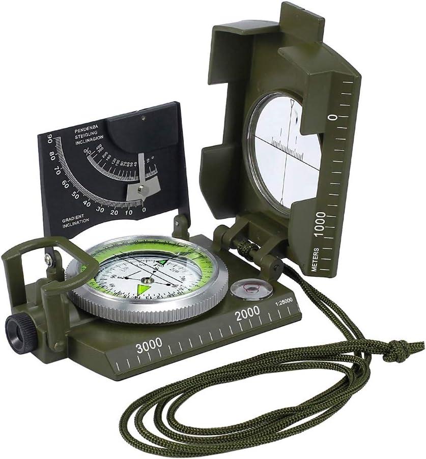 HYLH Brújula Militar Navegación, Bolsa Protector del Reloj Niños Niños Llavero Latón Barco Bloqueo Mapeado Antiguo Escuela Dibujo Matemáticas