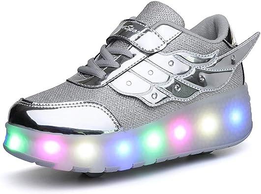 Kids LED Trainers Wheel Flash Light Roller Skate Shoes UK Girls Boys