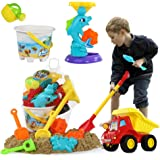 Temi Beach Sand Toys Set with Water Wheel, Dump Truck, Bucket, Shovels, Rakes, Watering Can, Molds, Outdoor Tool Kit for…