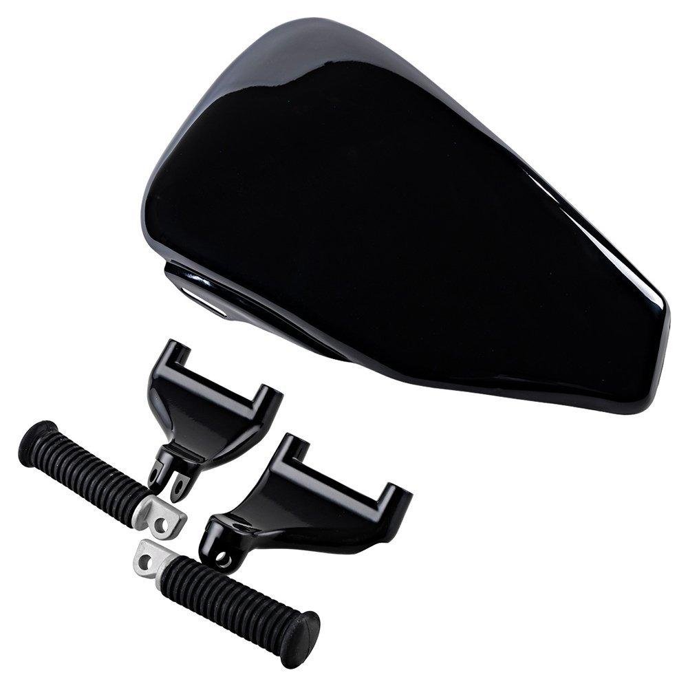 Set Black Metal Rear Passenger Foot Peg Bracket Mount + Left Side Battery Cover For Harley HD Sportster XL1200 XL883 2004-2013