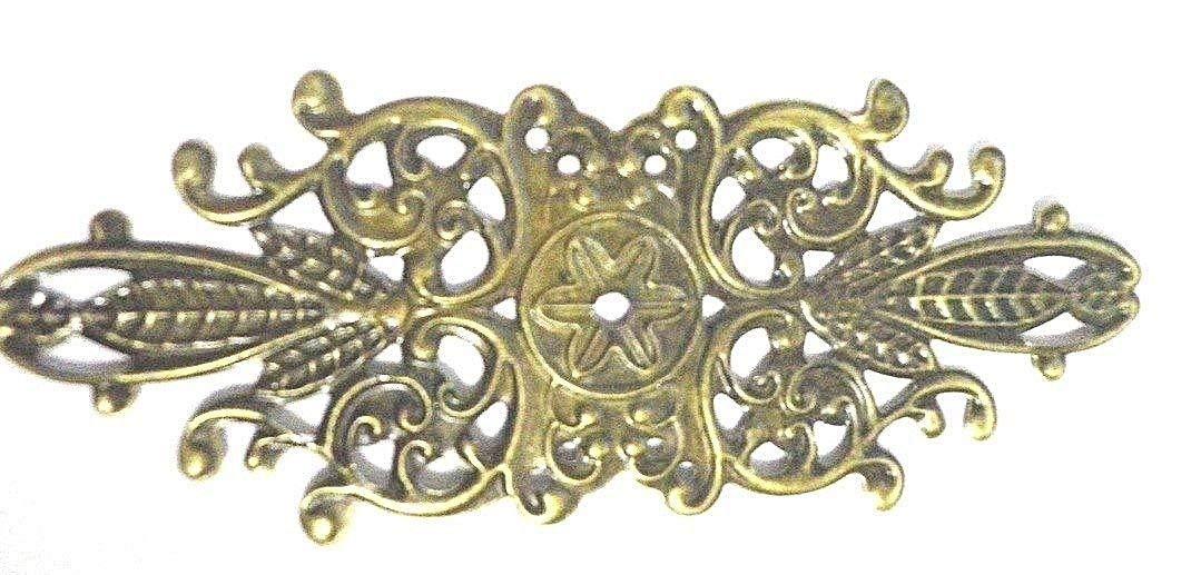 4x Antique centres en filigrane 85x 33mm Bijoux Boîte en bois vieilli ornements C038