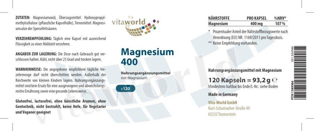 Magnesio 400mg 120 Cápsulas Vegetales - Vita World Producción Farmacia Alemania: Amazon.es: Salud y cuidado personal