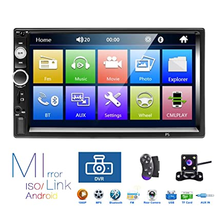 Hikity 2 Din Car Stereo 7'' HD Touch Screen MP5 Player Bluetooth FM Radio  Support iOS/Android Phone Mirror Link with AUX/Dual USB/SD/DVR Input +
