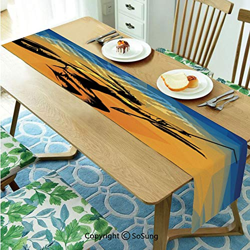 Native American Table runner for Farmhouse Dining Coffee Table Decorative,War Dance Ritual Against Ancient Totem Poly Effect Triangles Abstract 13