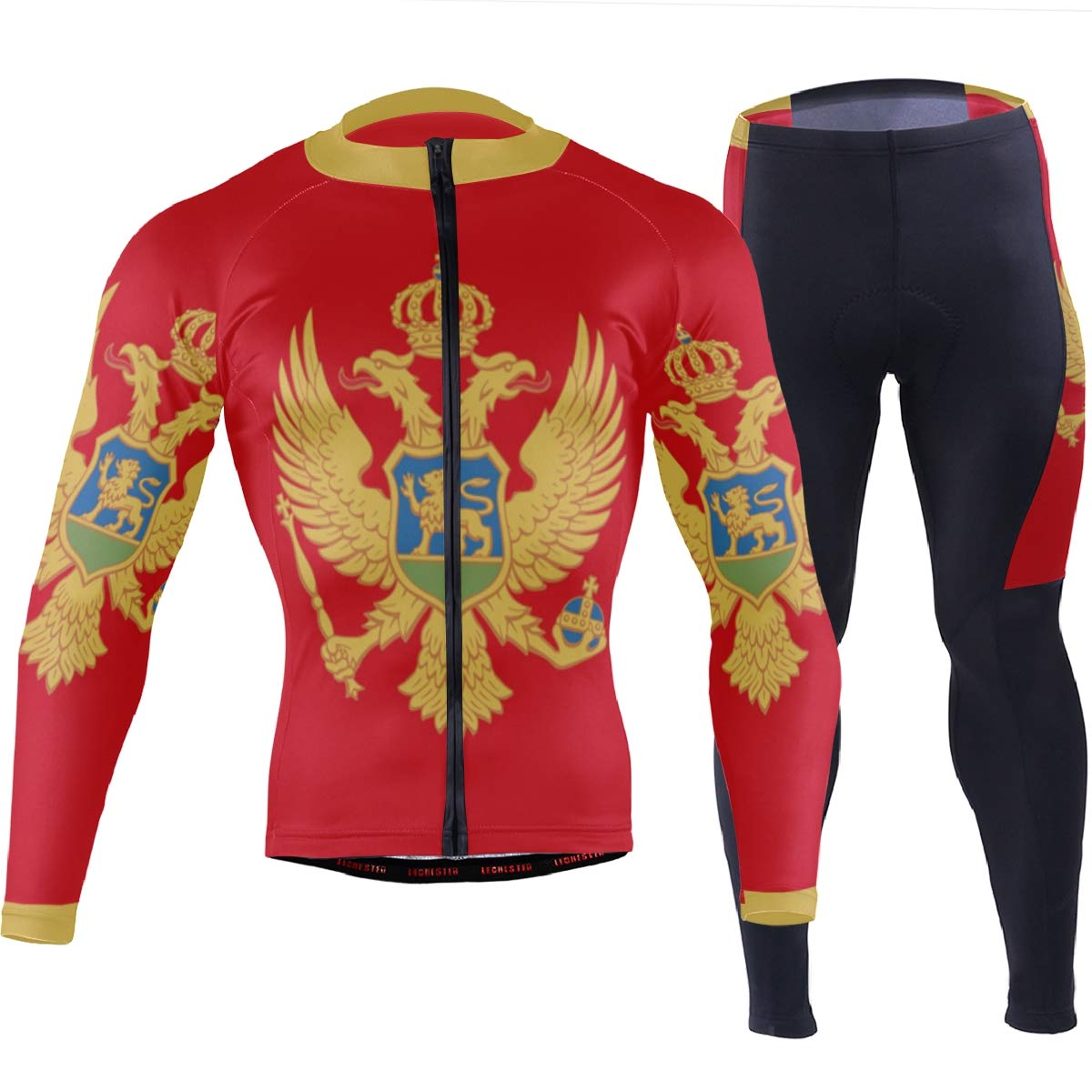 CHINEIN Men's Cycling Jersey Long Sleeve with 3 Rear Pockets Suit Montenegro Flag by CHINEIN