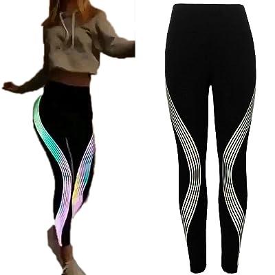 Women's Neon Rainbow High Waist Capris Fitness Workout Leggings Stretch Sports Tummy Control Yoga Pants