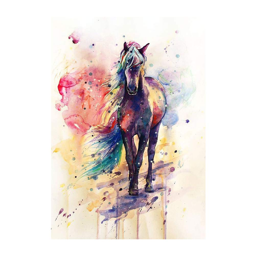 dds5391 Elegant Canvas Painting Watercolor Horse Picture Poster Wall Office Living Room Decor - 4050cm