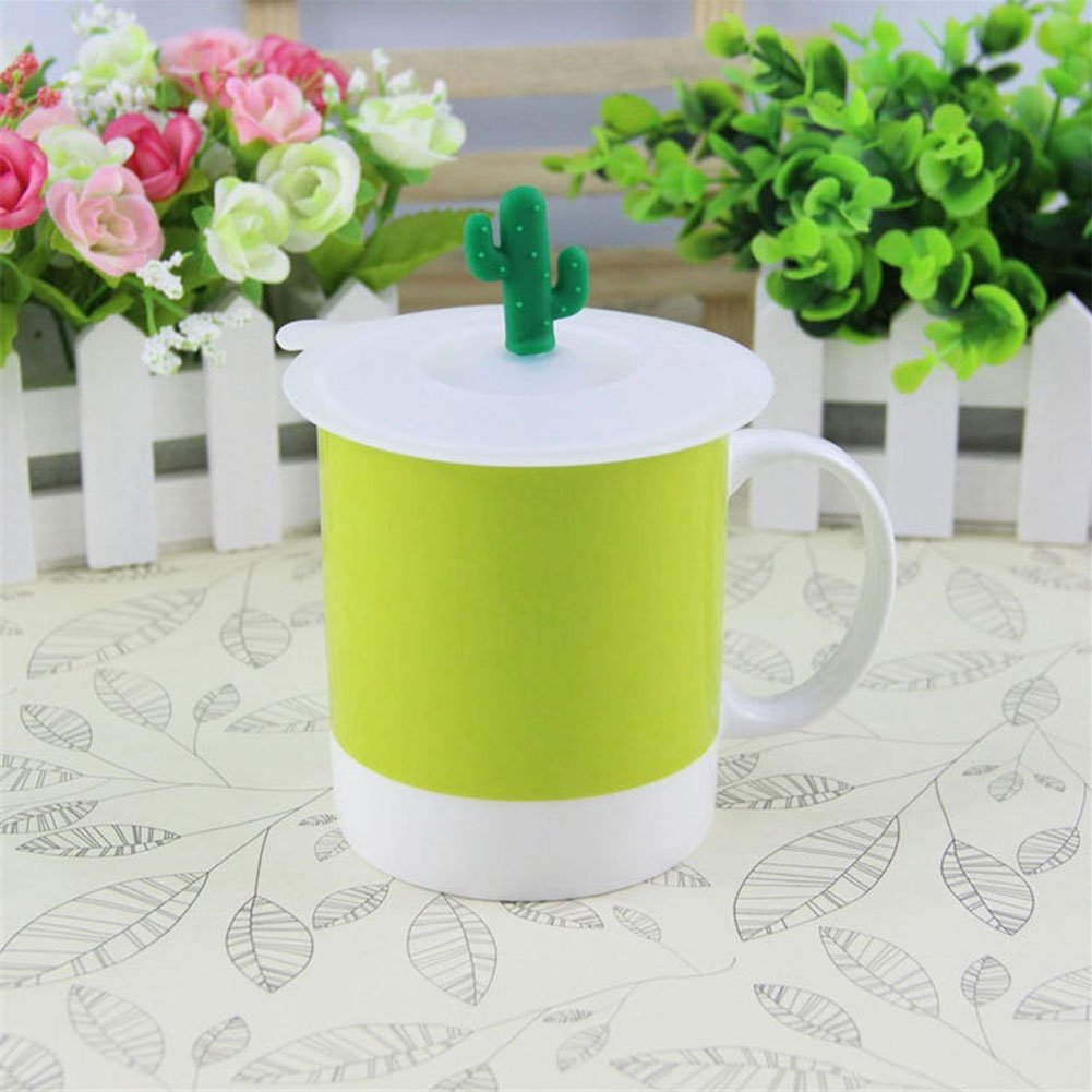 Brave669 Clearance Deals!!1Pc Dustproof Reusable Silicone Cup Coffee Mug Lid Cartoon Cactus Cover Cap Gift by Brave669 (Image #3)