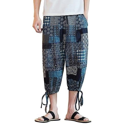 667a42f7da Mens Cotton Linen Loose Pants, Donci Fashion Colorful Printed Wide Crotch  Hawaii Beach Casual Shorts at Amazon Men's Clothing store:
