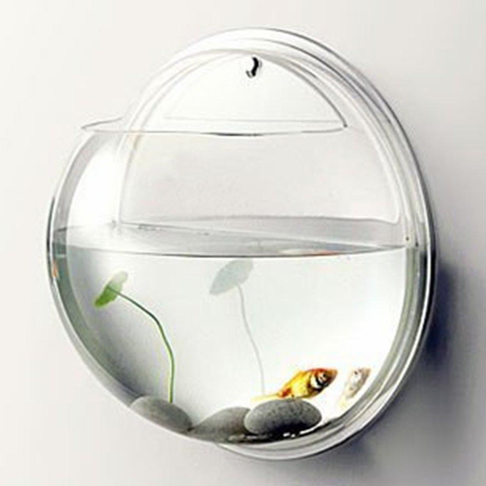 BEESCLOVER Pretty Acrylic Wall Mount Fish Tank Semicircle Aquarium Home Office Hotel Decoration