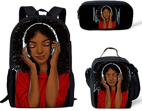 BPFW Mochila de Viaje para niños Niña Africana Patrón Mochila Estuche Mochilas para Adolescentes niños niñas Mochila Almuerzo 3 Piezas/Juegos,B: Amazon.es: Deportes y aire libre