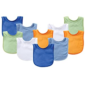 Luvable Friends Unisex Baby Cotton Terry Bibs, Blue Orange, One Size