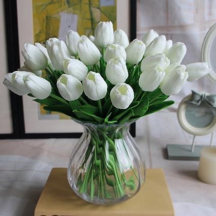 Amkun, 10 tulipani finti in poliuretano, realistici, per casa ...
