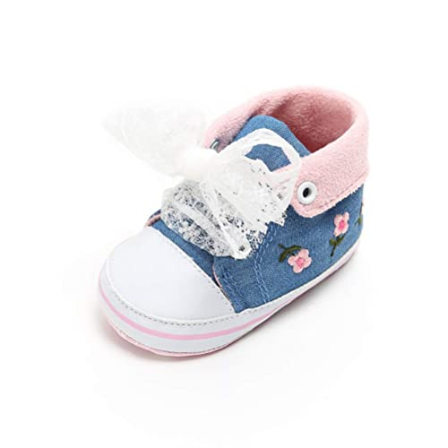 Bebes Cordón Zapatos de Lona Lindo con Cordones Zapatillas Antideslizante Suela Blanda Zapatos de Bebé para