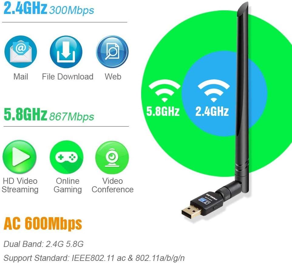 Adaptador Antena WiFi USB 3.0 600Mbps Receptor 802.11AC con Dual Banda (5GHz 433Mbps/2.4GHz 150Mbps) 5dBi WiFi Dongle Compatibie Windows ...