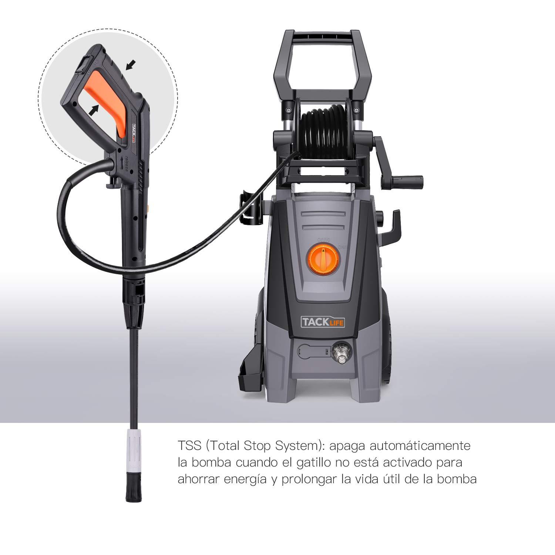 TACKLIFE Hidrolimpiadora, Motor de Cobre Completo Hidrolimpiadora de Alta presión, Electrica Limpiadora de Alta Presión para Limpiar Coche, Jardín, ...