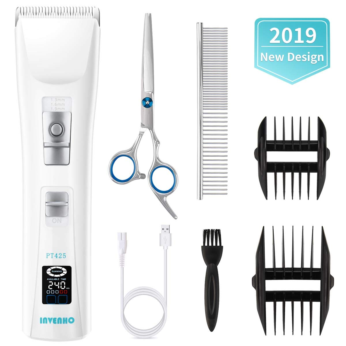 INVENHO DogHair Clippers - Rechargeable CordlessLow Noise Super Power Professional Pet Grooming Trimmers Kit, for Small Media Large Dog Cat