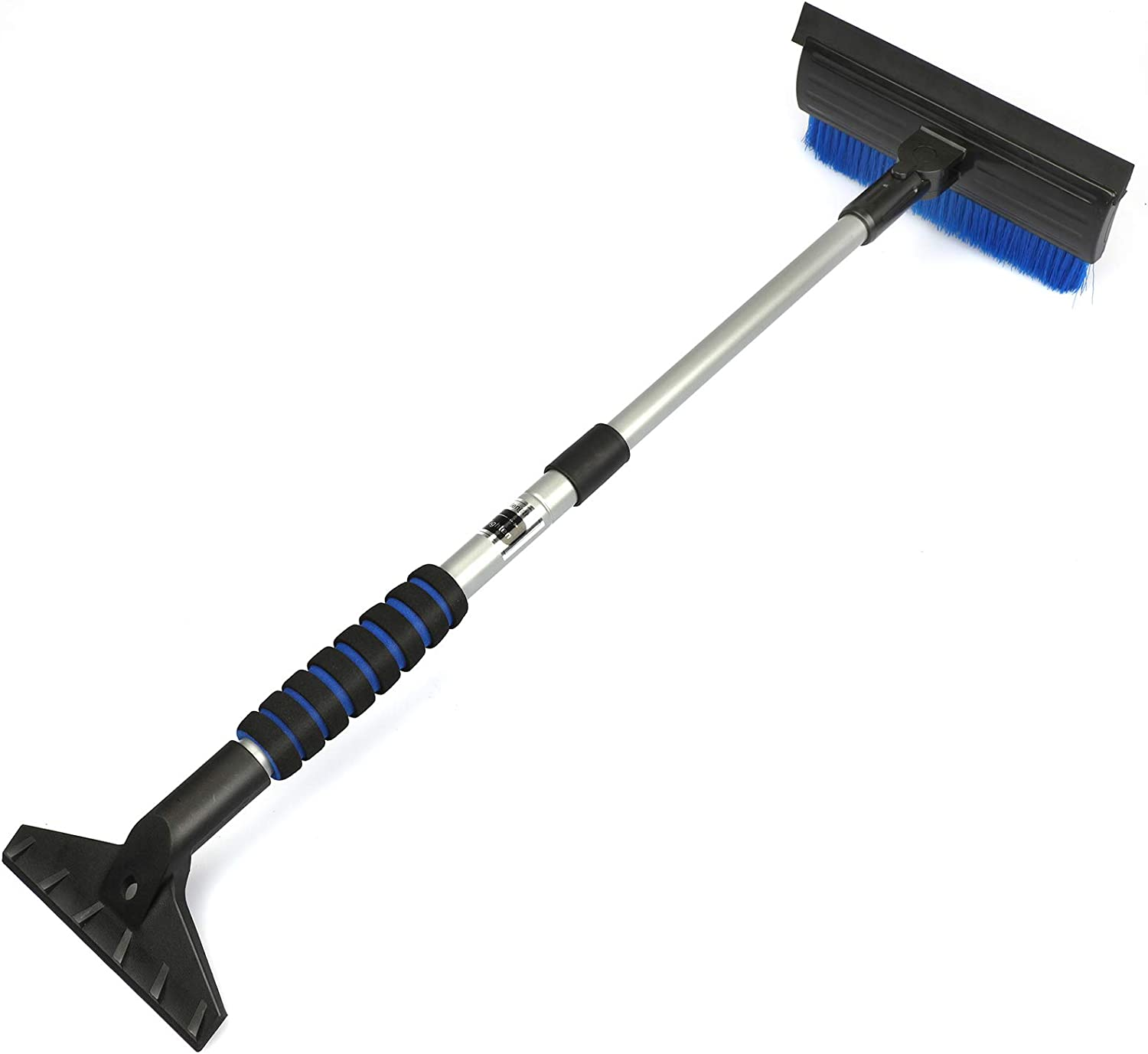 Extendable Auto Snow Removal Broom with Ice Scraper Blue Pivoting Head for Cars Trucks SUVs Foam Grip Car Snow Brush with Squeegee