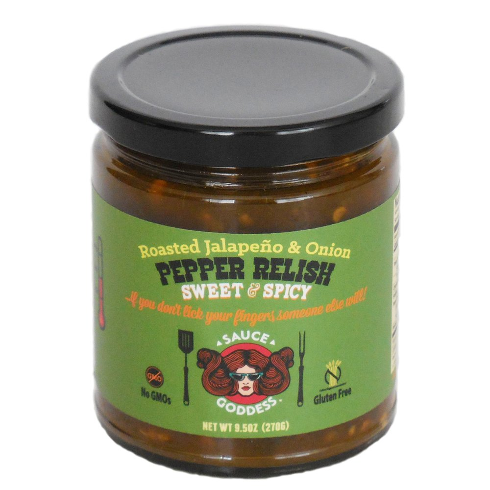 Sauce Goddess Roasted Jalapeno and Onion Pepper Relish, 27 Ounce (Pack of 3)