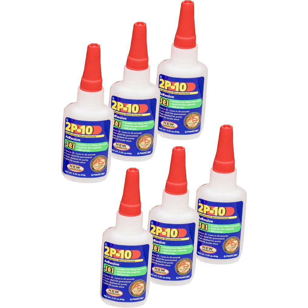 FastCap 2P-10 Professional 2 Oz Jel Super Glue Adhesive Bottles, 6-Pack