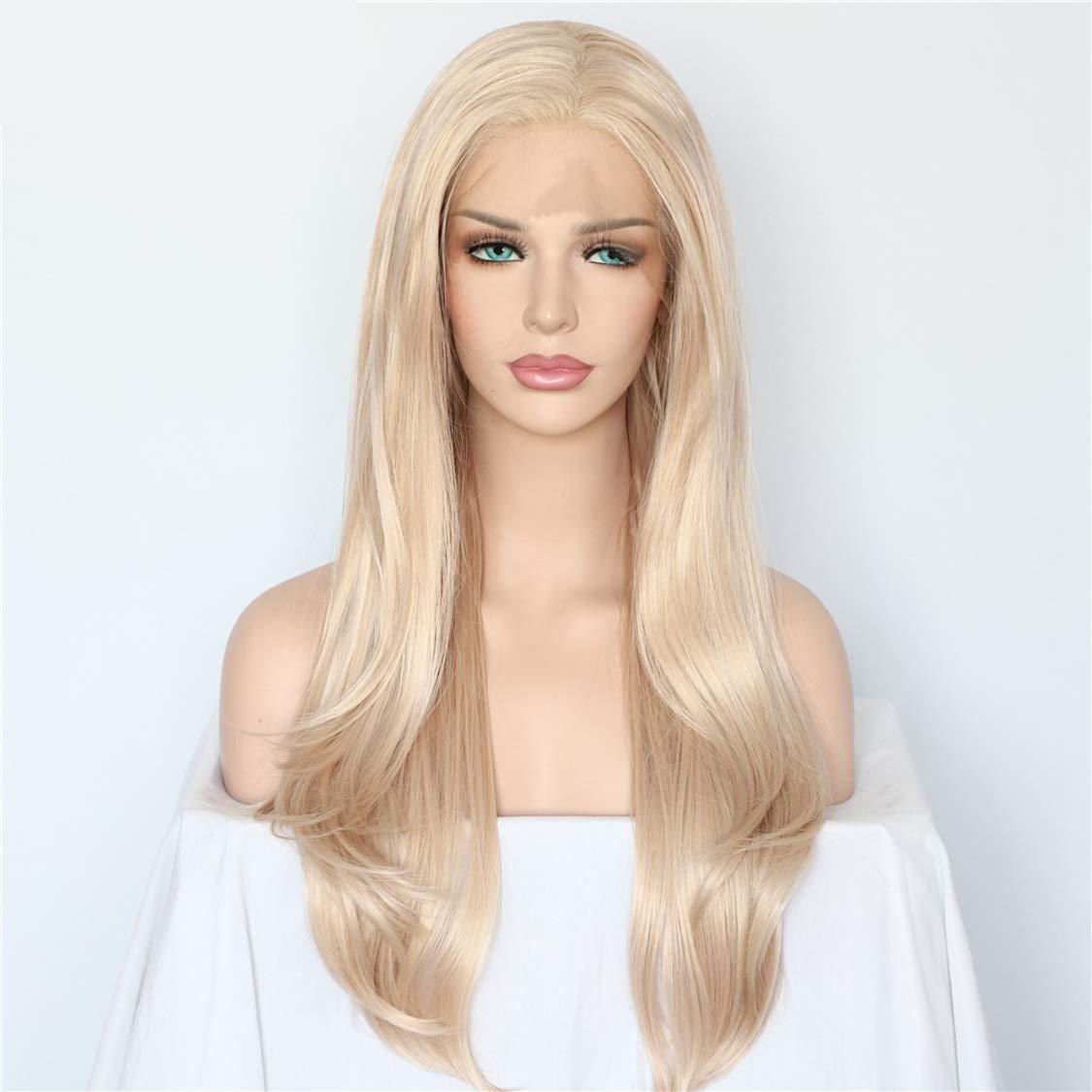 24 Long Handmade Cashmere Realistic Straight Luxury LAISA Pale Blonde with Light Pink Hues Hand-Tied Heat Resistant Soft High Quality Synthetic Lace Front Wig with Pre-plucked Custom Hairline and Baby Hairs